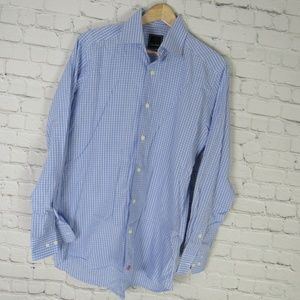 David Donahue Dress Shirt Mens 15.5 Blue Red Check